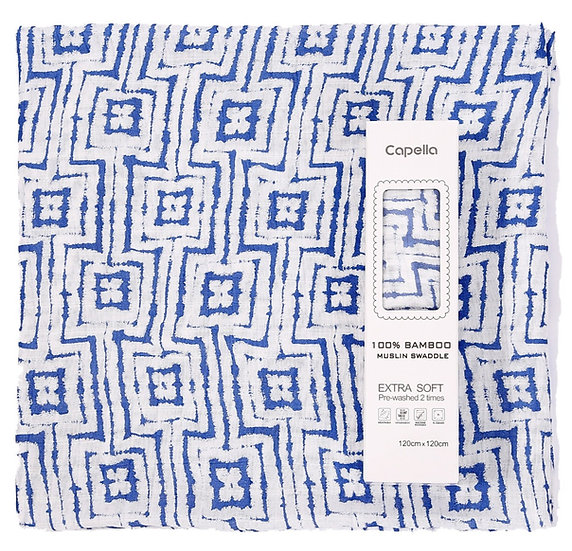 Capella - swaddle 竹纖維嬰兒包巾 藍色圖案