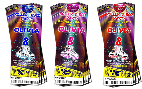 Roller Skating, Disco, Birthday Party Invitation. Ticket Style. Blue, Pink, Red