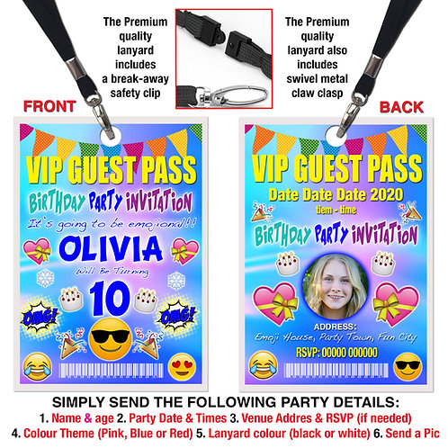 VIP PARTY LANYARD Birthday Emoji Theme + Picture, Pink, Red or Blue