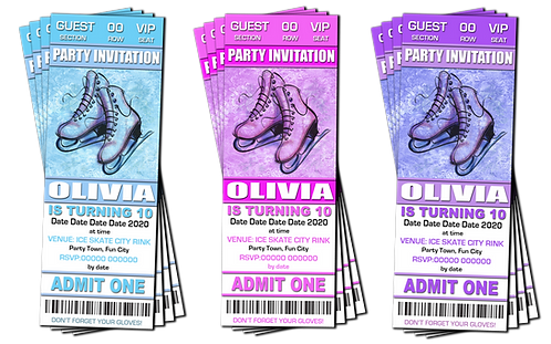 Ice Skating, Birthday Party Invitation. Ticket Style. Blue, Pink or Purple