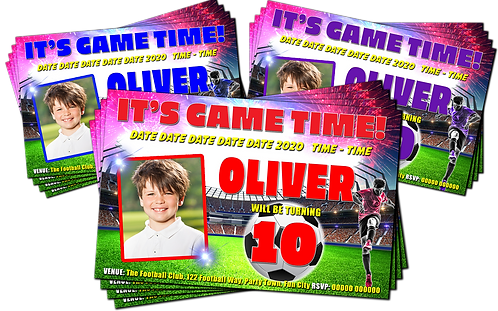 Football, Soccer, Birthday Party Invitations. With Picture. Red, Purple or Blue
