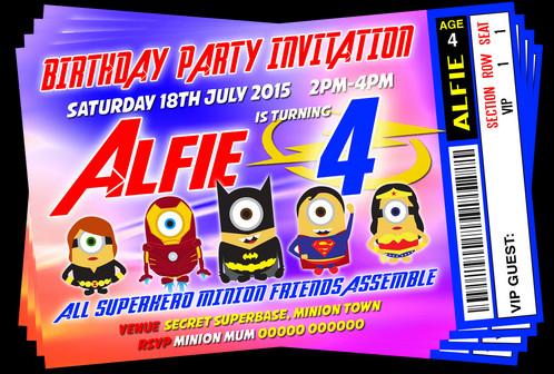 minion superhero fancy dress party invitation