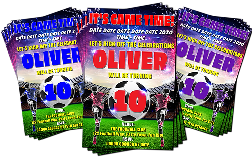 Football, Soccer, Game Time, Birthday Party Invitation. Red, Purple or Blue