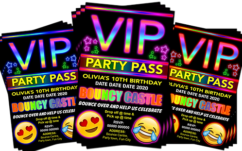 Bouncy Castle Birthday Party Invitation. VIP Pass Style. Red, Pink or Blue
