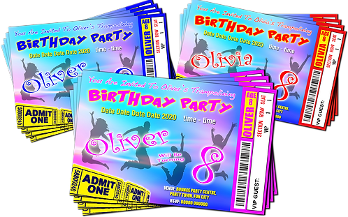 Trampoline, Bounce, Birthday Party Invitation. Ticket Style, Blue, Red or Pink