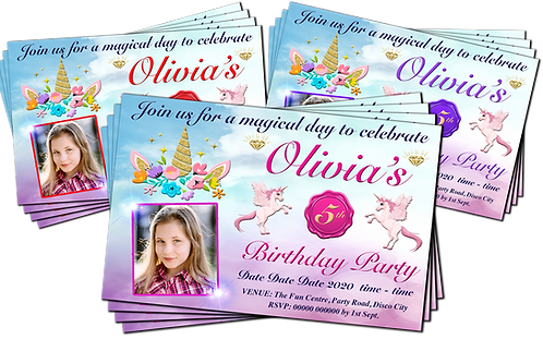 Magical Unicorn, Birthday Party Invitations. With Picture. Red, Purple or Pink