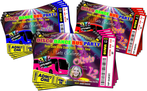Party Bus Disco Dance Invitations. Ticket Style + Picture. Red, Pink or Blue