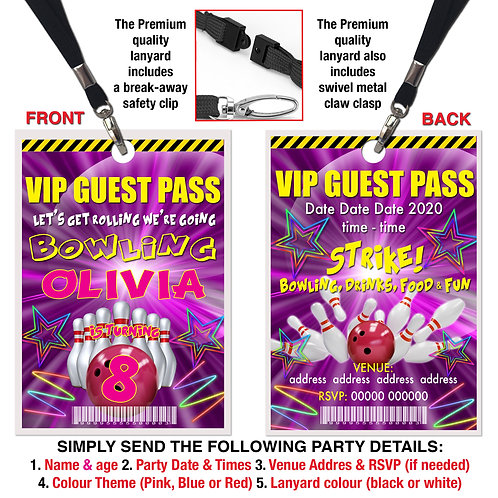VIP PARTY LANYARD Ten Pin Bowling, Strike! Pink, Red or Blue