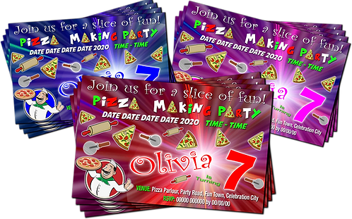 Pizza Making, Birthday Party Invitation, Blue, Pink or Red