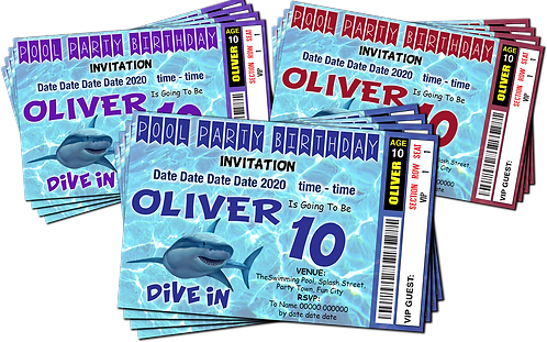 Swimming Pool, Shark, Party Invitation. Ticket Style, Blue, Red or Purple