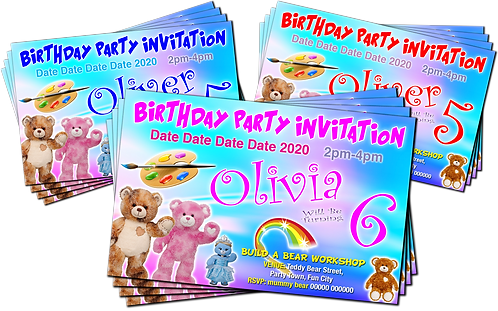 Build A Bear Workshop, Birthday Party Invitation. Red, Pink or Blue