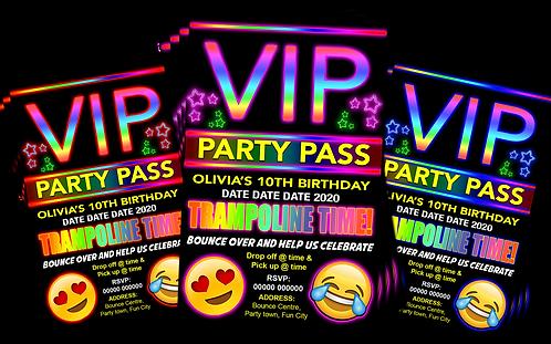 Trampoline, Birthday Party Invitation. VIP Pass. Emoji. Red, Pink or Blue