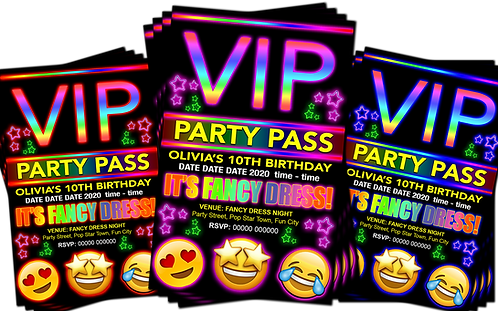 Fancy Dress, Birthday Party Invitation. VIP Pass. Emoji. Red, Pink or Blue