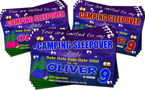 Camping, Sleepover, Birthday Party Invitation. Pink, Red or Blue