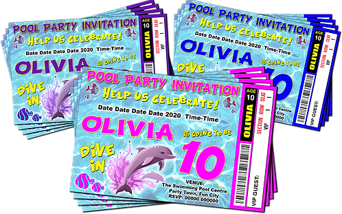 Swimming Pool, Dolphin, Party Invitation. Ticket Style, Blue, Pink or Purple