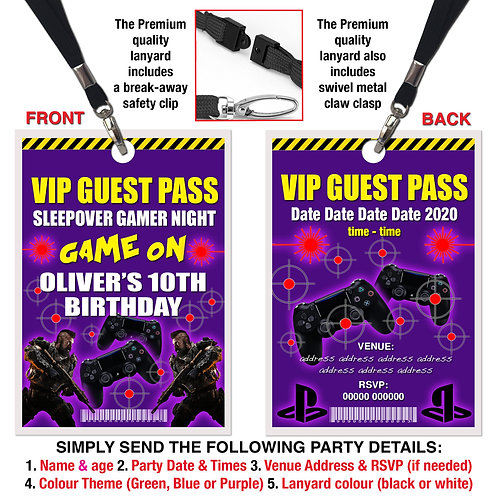 VIP PARTY LANYARD Sleepover, Gamer, PS4, Invitation, Green, Blue or Purple