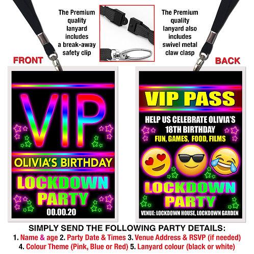 VIP PARTY LANYARD  Lockdown, Emoji, Birthday Theme. Pink, Red or Blue