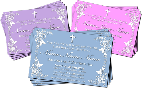 Holy Communion, Floral,  Invitation. Red, Purple or Blue