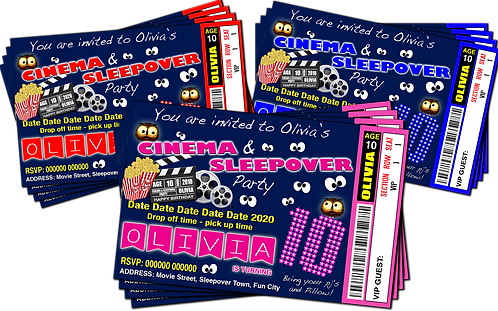Sleepover, Cinema, Birthday Party Invitation. Ticket Style, Red, Pink or Blue