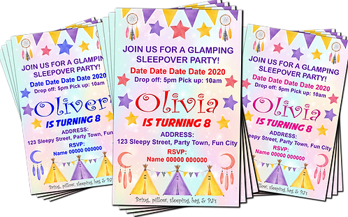 Teepee, Camping, Sleepover, Birthday Party Invitation. Pink, Blue or Red