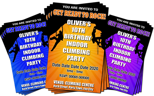 Rock Climbing, Party Invitation. Indoor, Outdoor, Purple, Blue or Orange