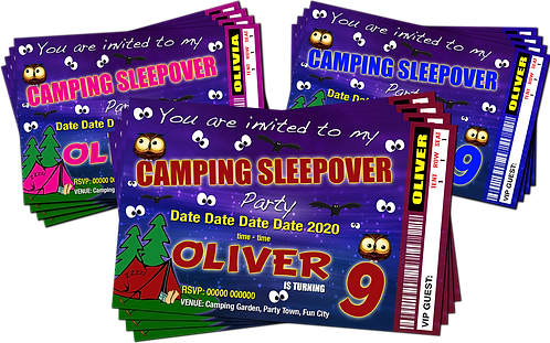 Camping, Sleepover, Birthday Party Invitation, Ticket Style, Blue, Pink or Red