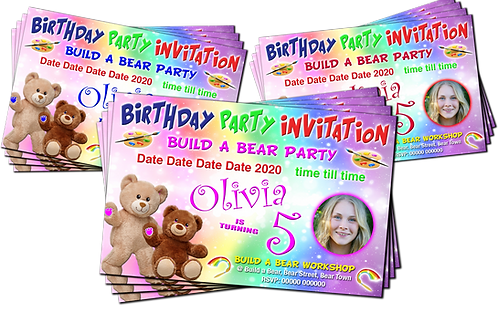Build A Bear Workshop Party Invitation. With Picture. Red, Pink or Blue