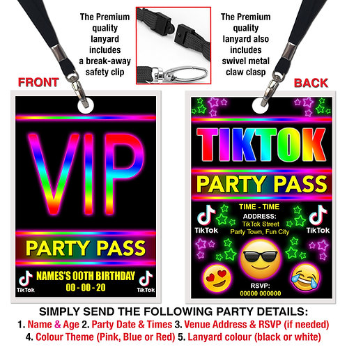 VIP PARTY LANYARD TikTok, Dance, Star, Pink, Red or Blue