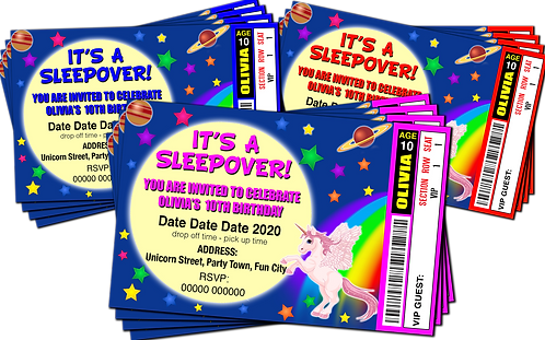 Sleepover, Unicorn, Birthday Party Invitation. Ticket Style, Red, Pink or Blue