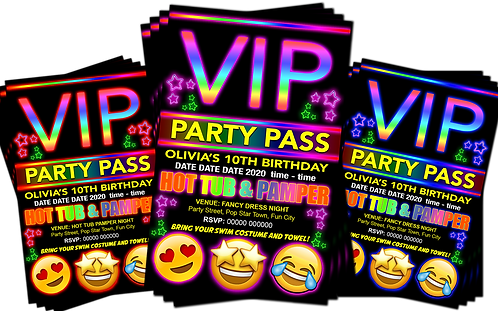 Hot Tub, Pamper, Birthday Party Invitation. VIP Pass. Emoji. Red, Pink or Blue