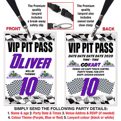 VIP PIT PASS LANYARD  Karting, Go Karting, Purple, Red or Blue