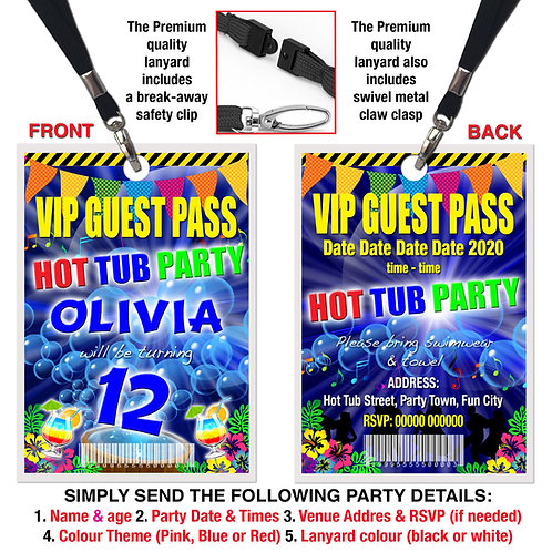 VIP PARTY LANYARD  HoT Tub, Birthday Theme. Pink, Red or Blue