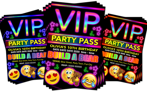 Build A Bear Workshop, Party Invitation. VIP Pass Style. Red, Pink or Blue