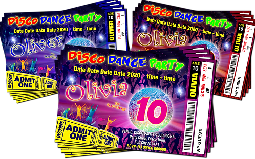 Disco, Dance, Birthday Party Invitation. Ticket Style Red, Pink or Blue