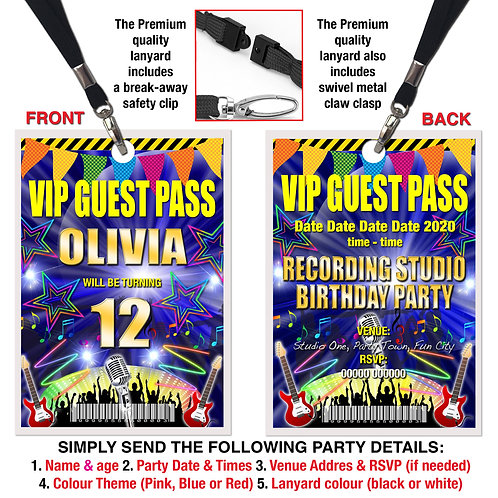 VIP PARTY LANYARD  Recording Studio, Karaoke, Invitation, Pink, Red or Blue