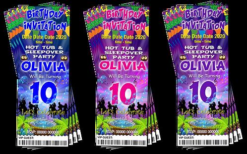 Hot Tub, Sleepover, Birthday Party Invitation. Ticket Style, Blue, Pink, Purple