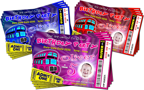 Party Bus Birthday Invitations. Ticket Style + Picture. Red, Pink or Blue