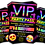 Thumbnail: Sleepover, Birthday Party Invitation. VIP Pass. Emoji. Red, Pink or Blue