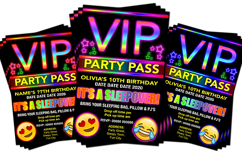 Sleepover, Birthday Party Invitation. VIP Pass. Emoji. Red, Pink or Blue