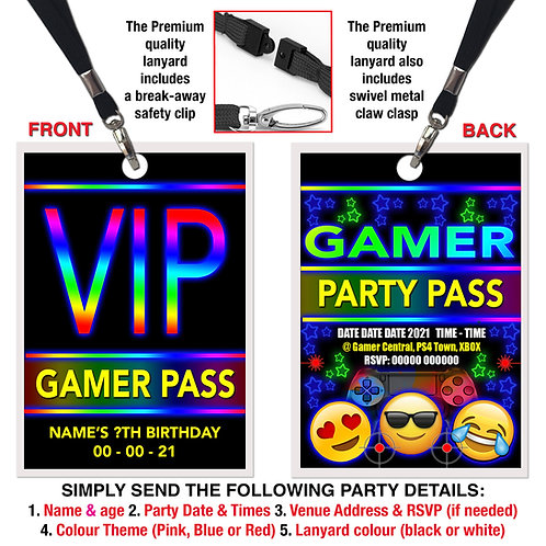 VIP PARTY LANYARD  Gamer, Xbox, PS4, Theme. Red, Pink or Blue