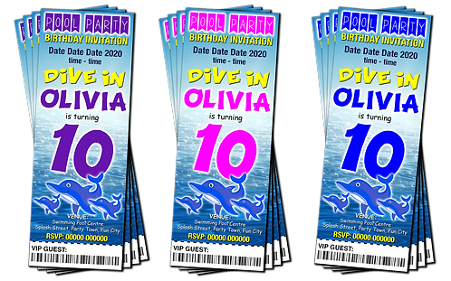 Swimming Pool, Dolphin, Party Invitation. Ticket Style. Blue, Pink or Purple
