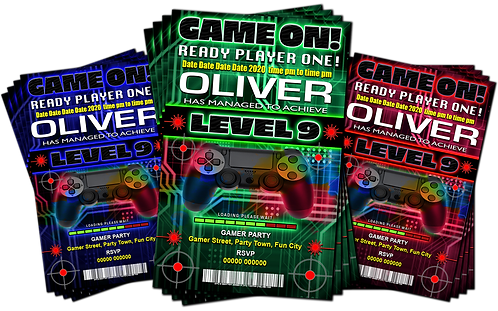 Gamer, Xbox, PS4, Birthday Party Invitation. Red, Green or Blue