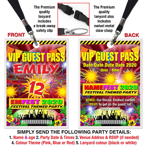 VIP PARTY LANYARD  Festival, Music, Theme. Pink, Red or Blue