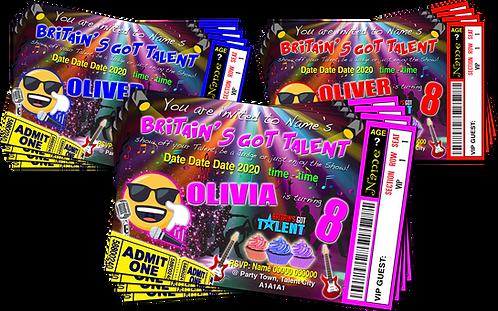 Karaoke, Pop Star, Britain's Got Talent, Ticket Style, Blue, Pink or Red