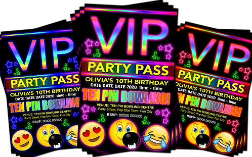 Ten Pin Bowling, Birthday Party Invitation. VIP Pass. Emoji. Red, Pink or Blue