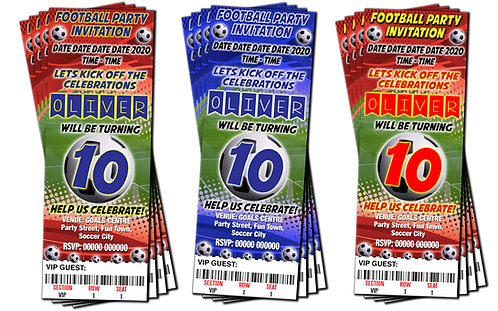 Football, Soccer, Party Invitation. Ticket Style, Blue, Red1 or Red2,