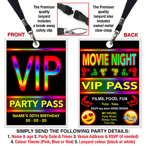 VIP PARTY LANYARD  Cinema, Movie, Emoji Theme. Pink, Red or Blue