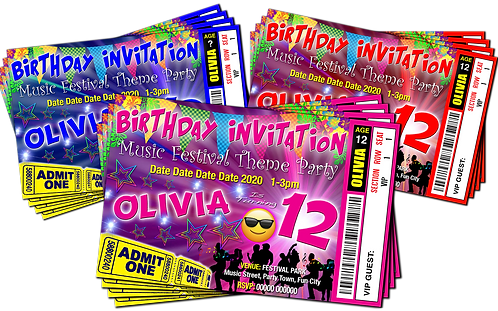 Festival, Music, Party Invitation. Ticket Style. Red, Pink or Blue