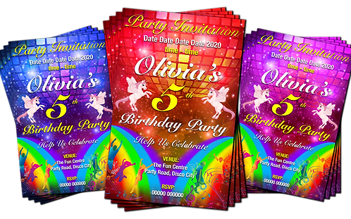 Disco, Dance, Unicorns, Rainbows, Party Invitation. Red, Pink or Blue