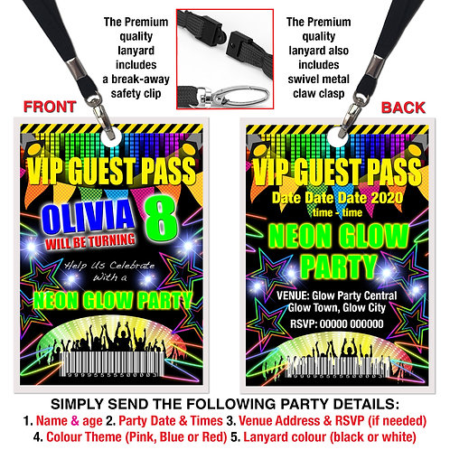 VIP PARTY LANYARD  Glow, Neon, UV, Disco, Theme. Pink, Red or Blue